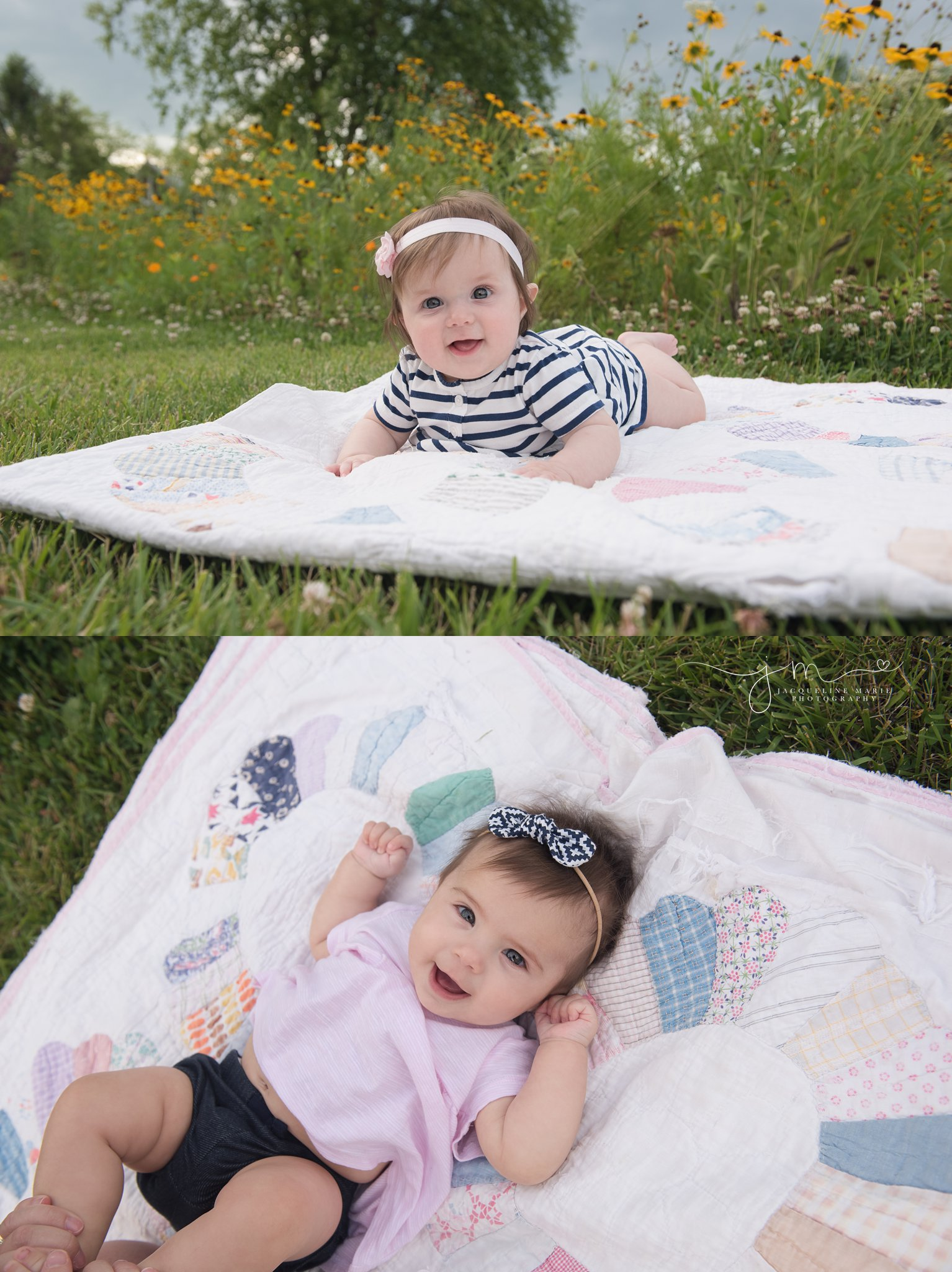 columbus ohio baby and children photographer features twin sisters on pastel vintage quilt at homestead park