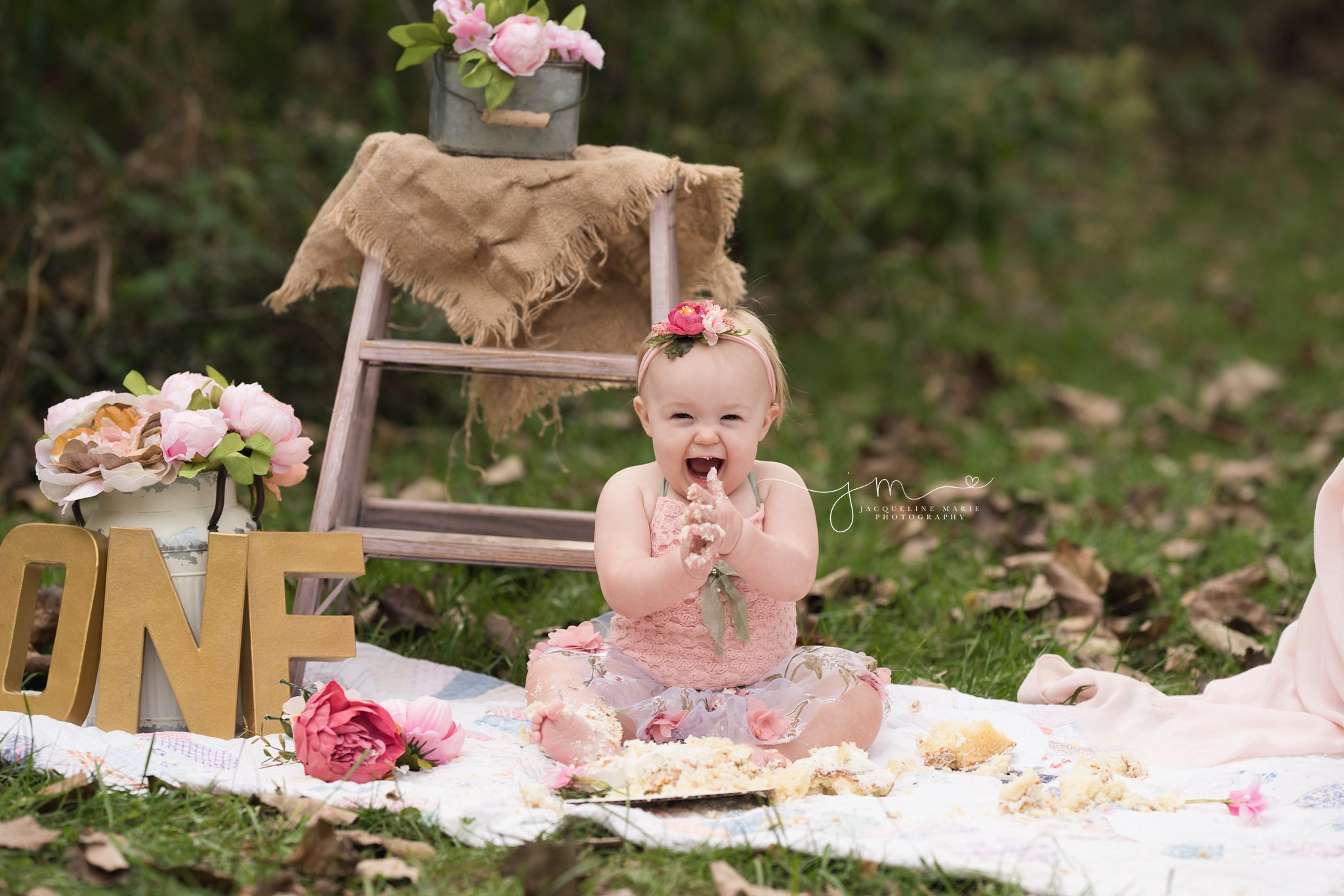 first birthday vintage floral theme cake smash setup for 1 year old in columbus ohio