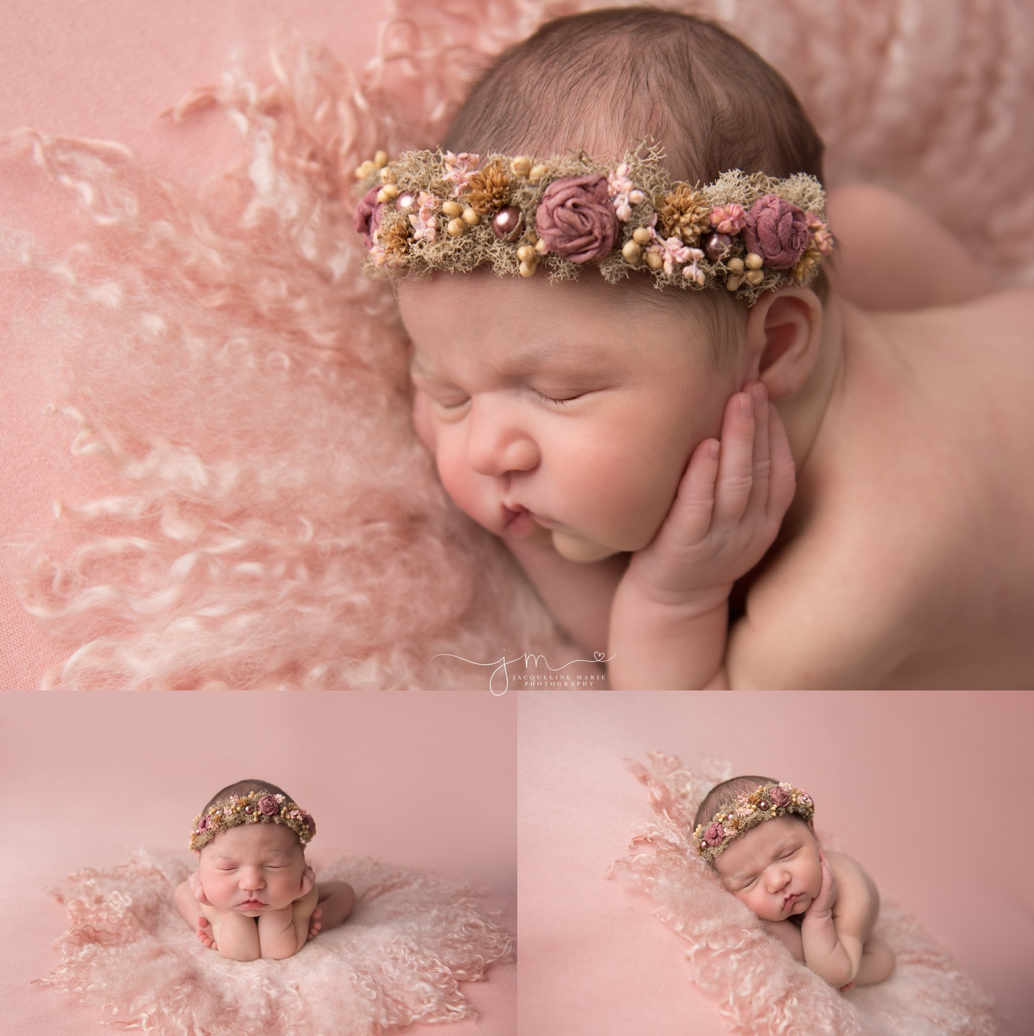 1 week old newborn baby girl wears pink floral crown on pink blanket for newborn photography pictures in columbus ohio
