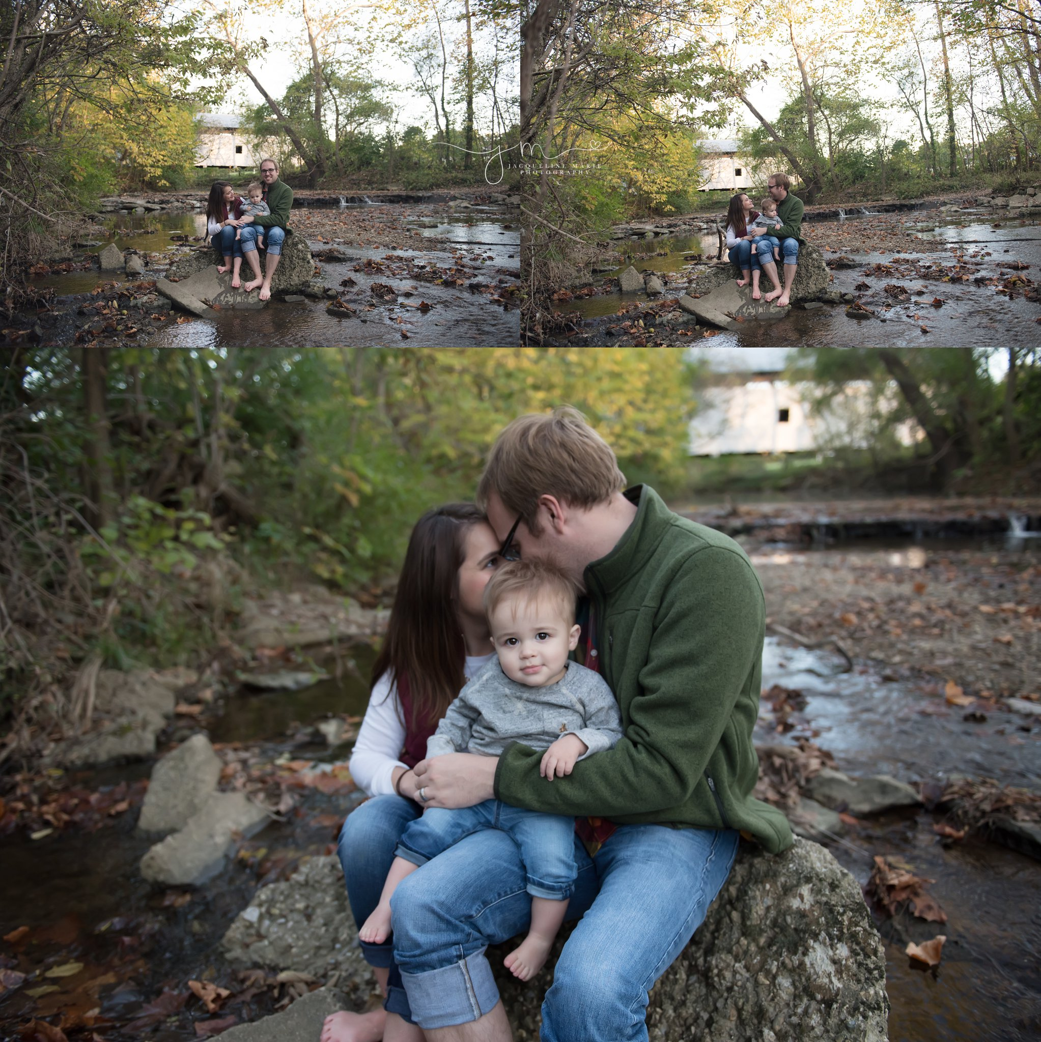 family of three play in a creek during their family photography session in columbus ohio