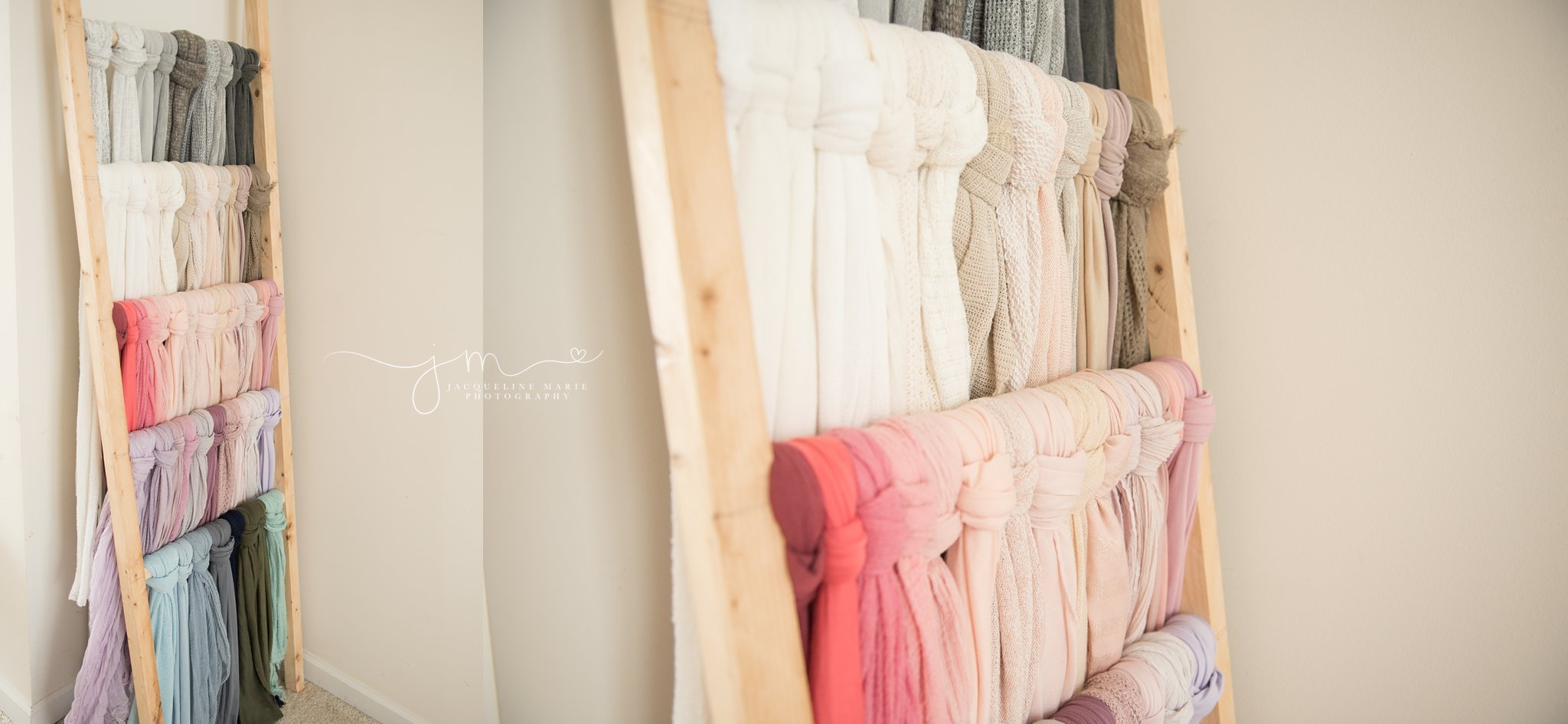 wood ladder displays wraps and layers in many colors at newborn photography studio in columbus ohio