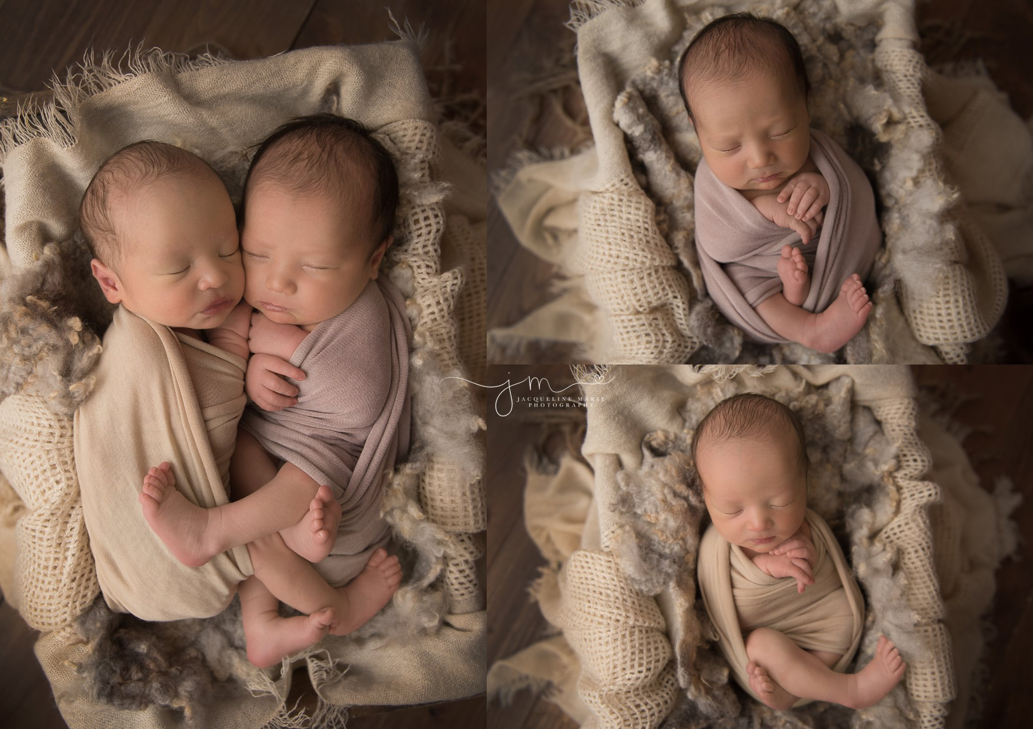newborn twin baby photography in columbus ohio features image of babies swaddled in neutral colors in a wood crate