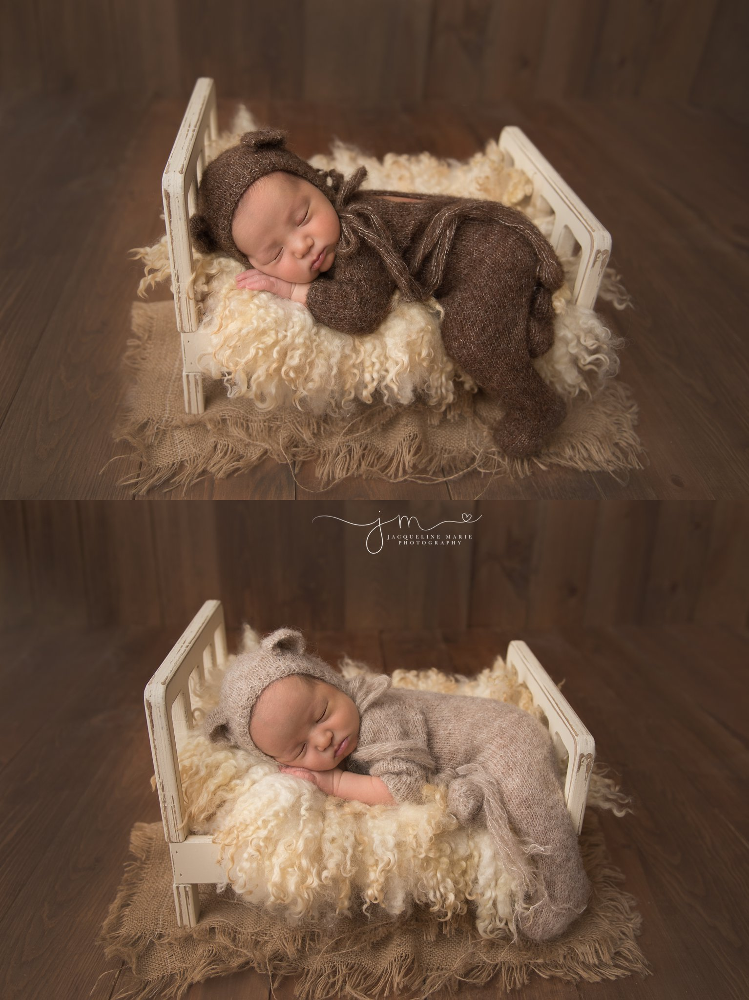 newborn photographer in columbus ohio features image of newborn baby wearing romper with matching teddy bear bonnet