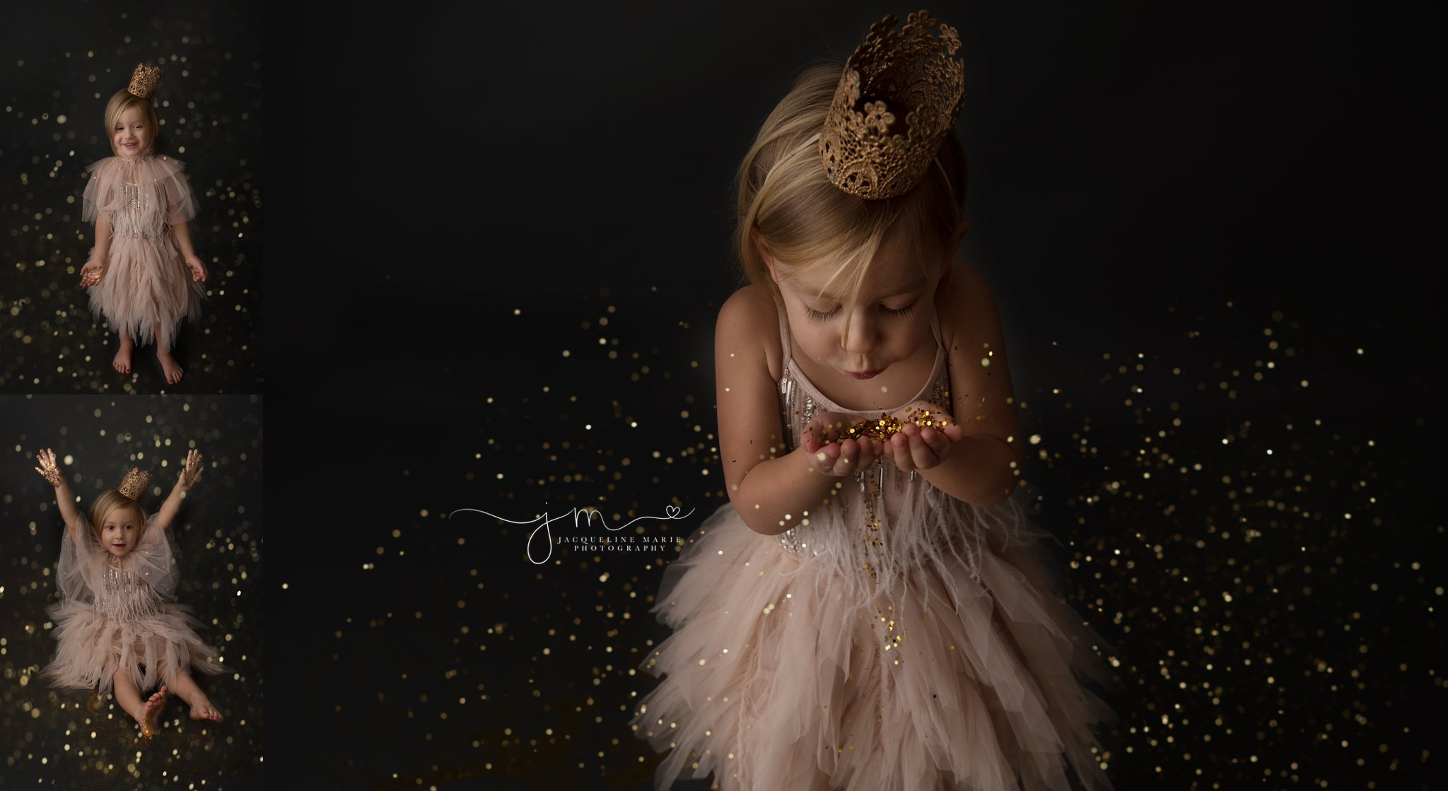 glitter mini photography session with pink dress and gold glitter in columbus ohio to celebrate third birthday, glitter session with tutu du mode dresses