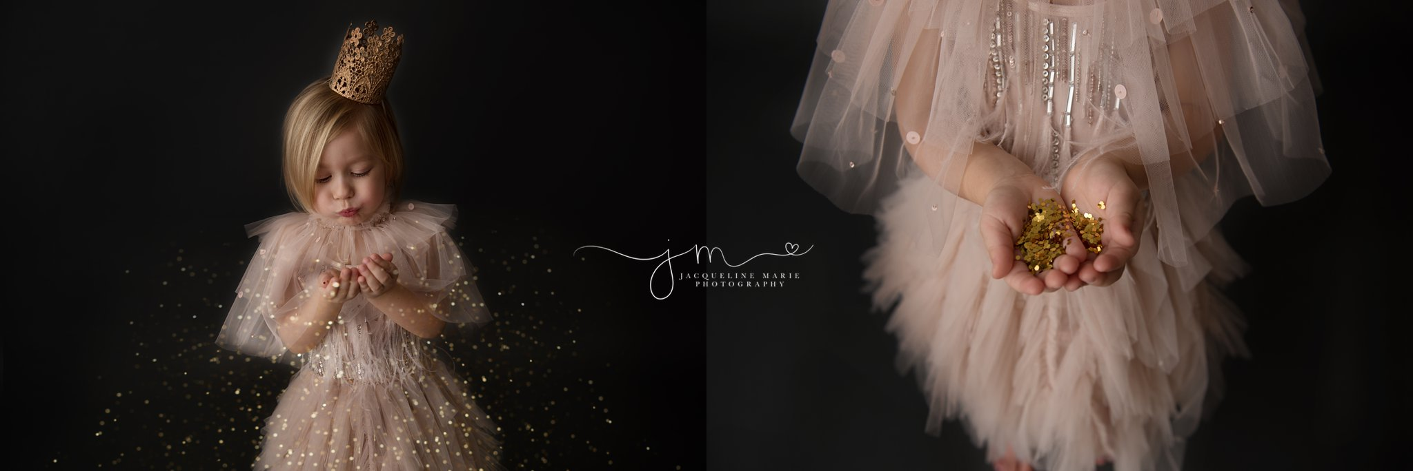 Glitter session with tutu du mode dress and gold crown in columbus ohio