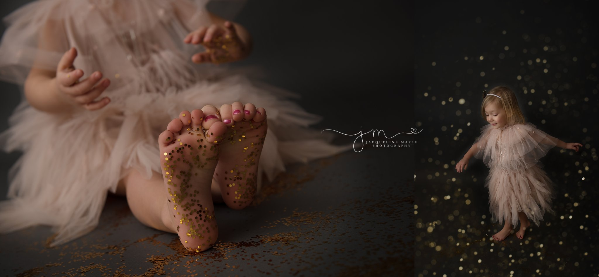 columbus ohio children photographer features image of glitter on toes for glitter session in tutu du mode dress