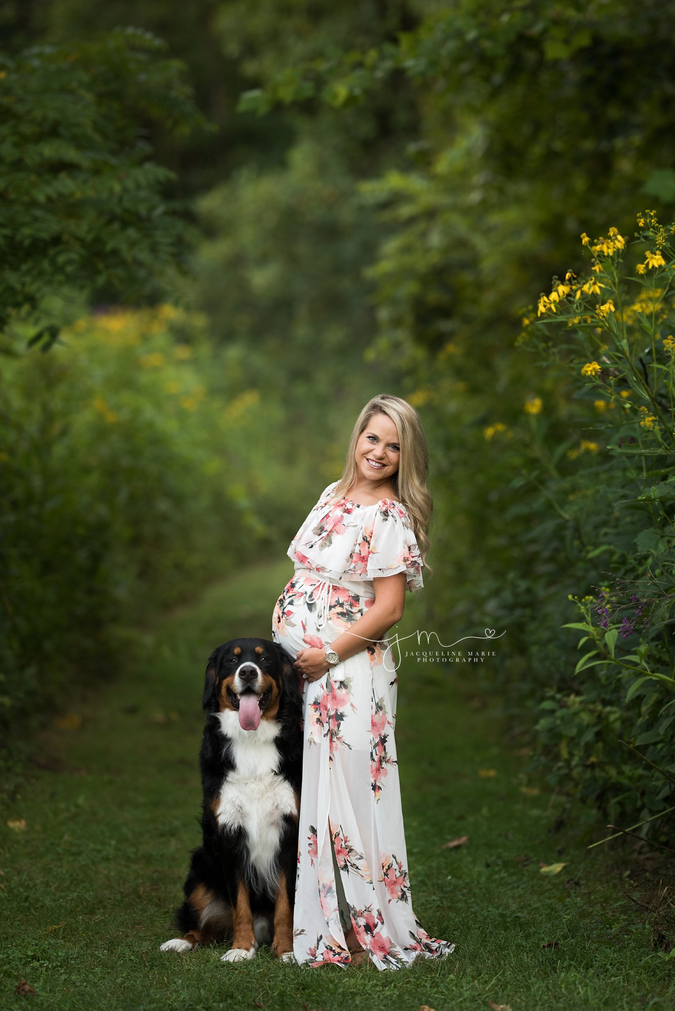 pregnancy maternity image of new mother to be and dog in field of flowers during sunset in columbus ohio