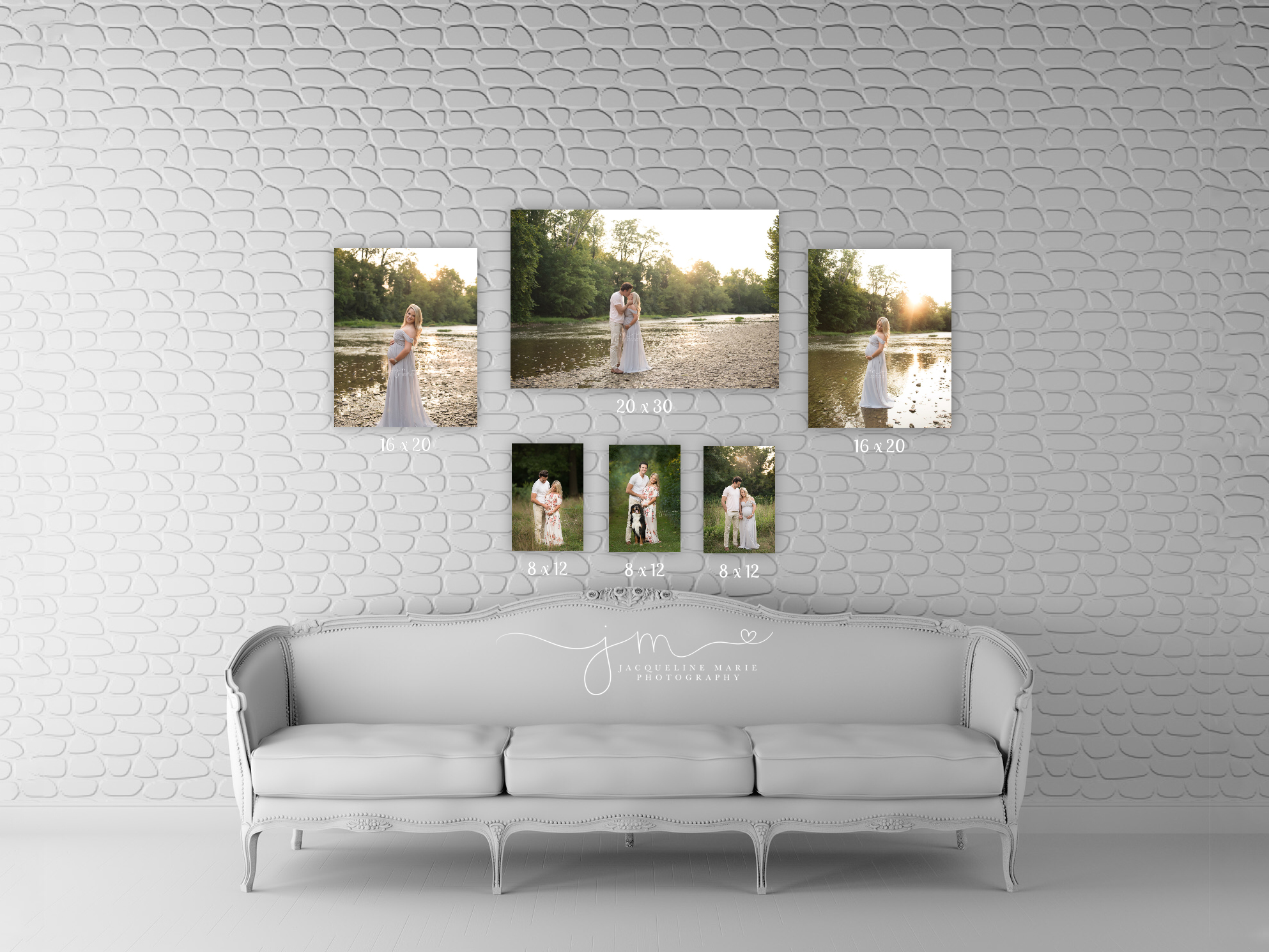 beautiful gallery wall designed with maternity images on canvas by columbus ohio maternity photographer