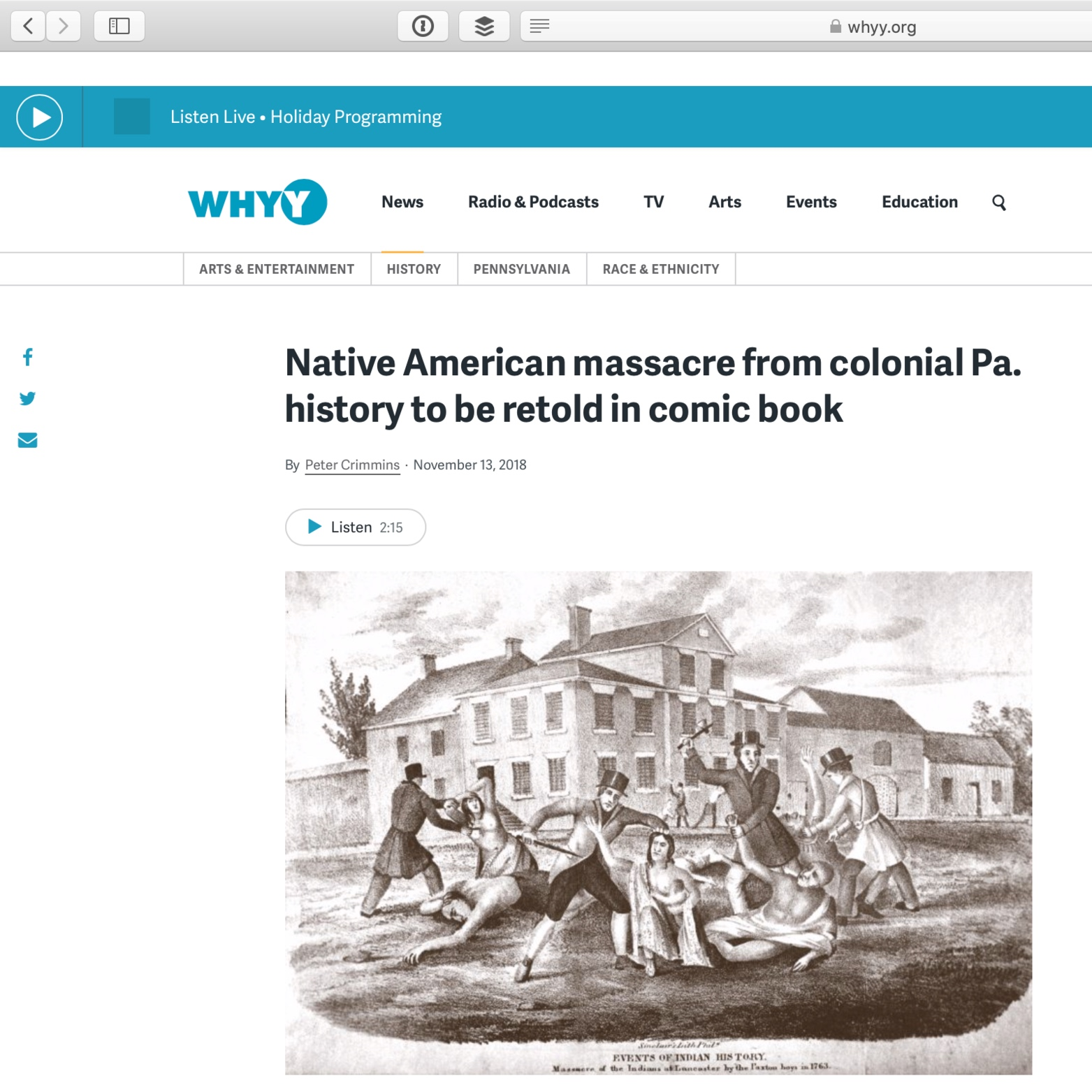 """Native American massacre from colonial Pa. history to be retold in comic book,"" Peter Crimmins, November 13, 2018"