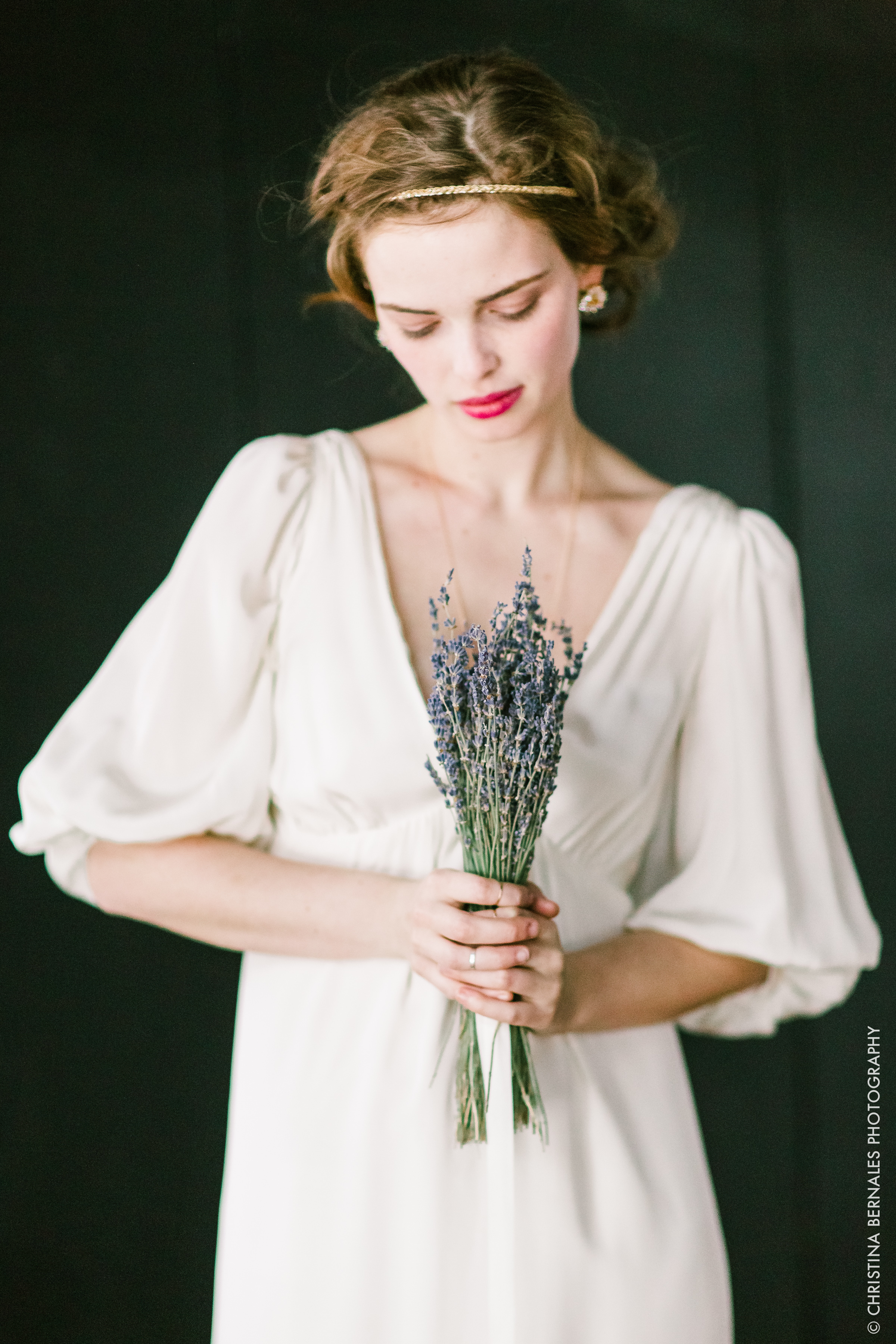 Dried Bridal Bouquet Design | Nectar & Root  Simple dried flower wedding bridal bouquet of lavender by Nectar & Root.