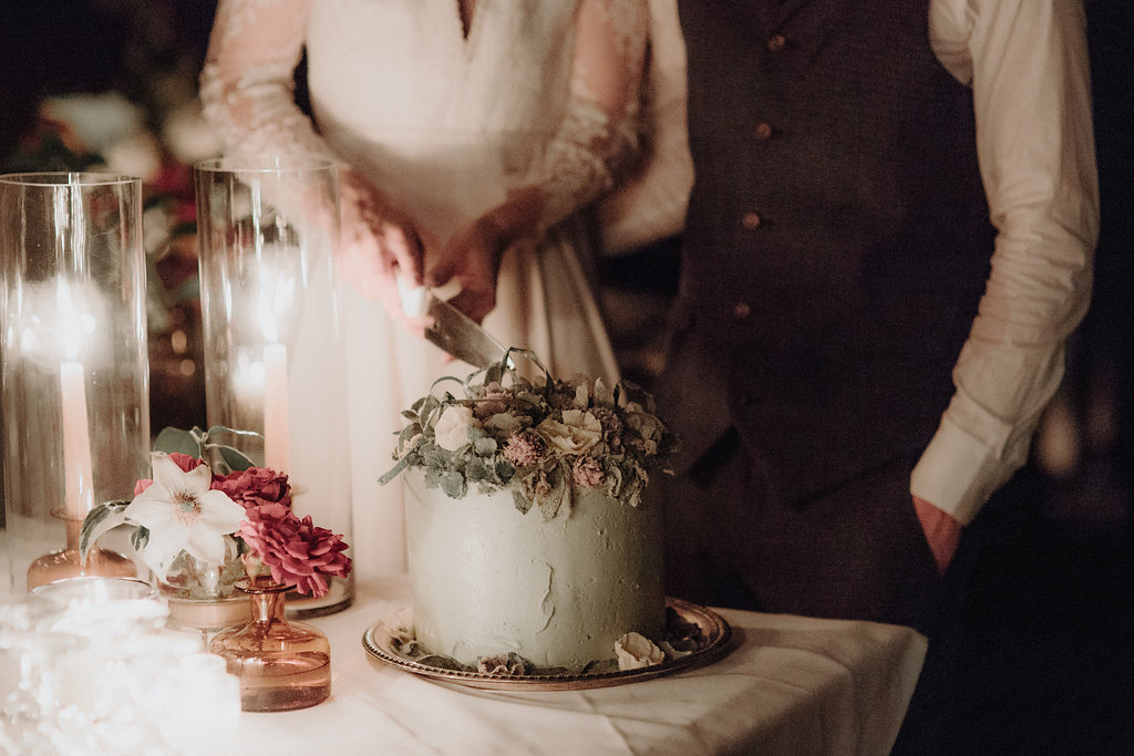 Wedding details and installations by Nectar & Root | Wedding floral design services in Burlington, Vermont (VT) | Cake flowers, floral cake display, floral cake topper