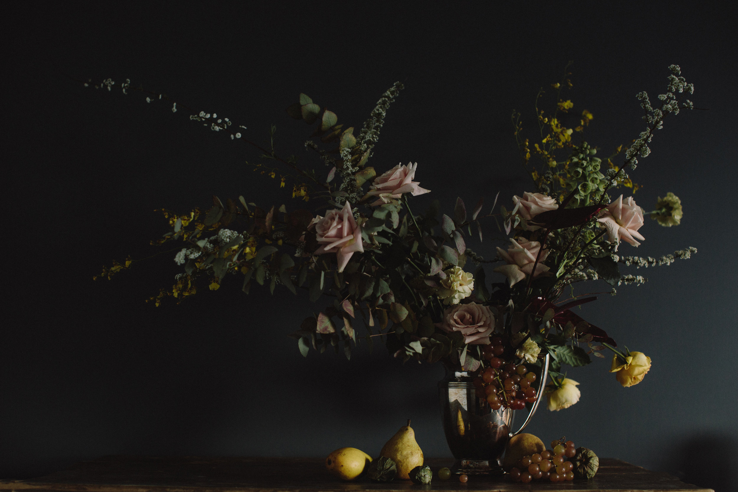 Wedding details and installations by Nectar & Root | Wedding floral design services in Burlington, Vermont (VT) | Moody dutch still life centerpiece