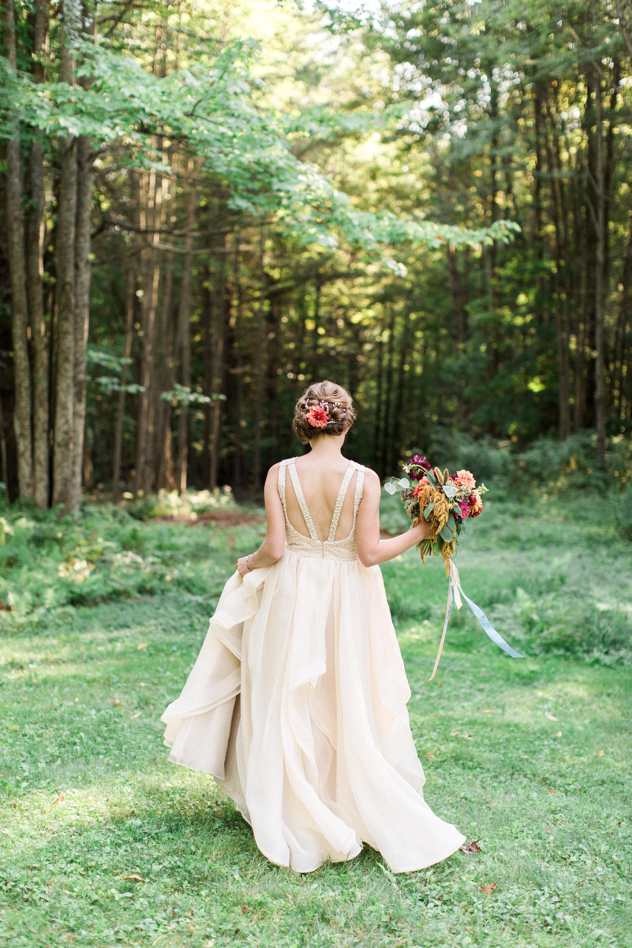 Fall wedding flowers by Nectar & Root | Wedding floral design services in Burlington, Vermont (VT) | Autumn bouquet of dahlias, eucalyptus, amaranth