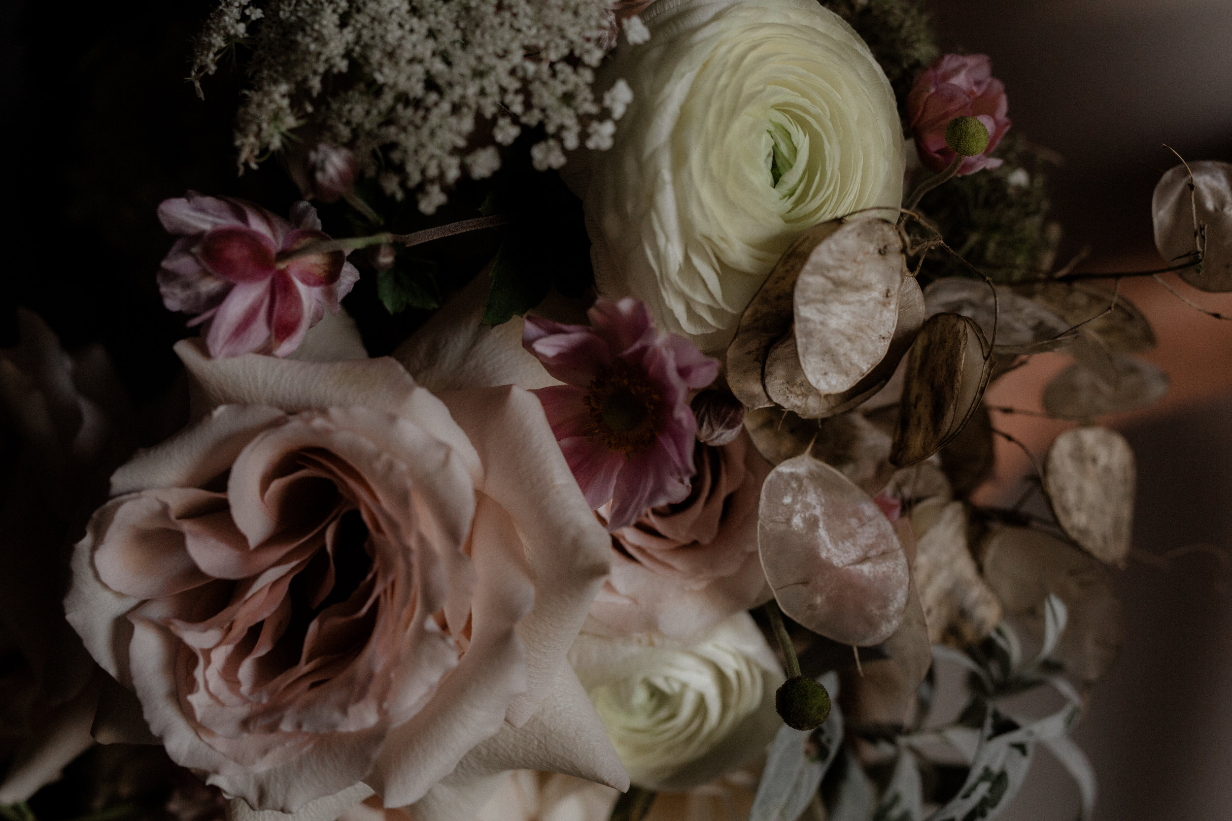Fall wedding flowers by Nectar & Root | Wedding floral design services in Burlington, Vermont (VT) | Ranunculus, garden roses, queen anne's lace, silver dollar seedpods