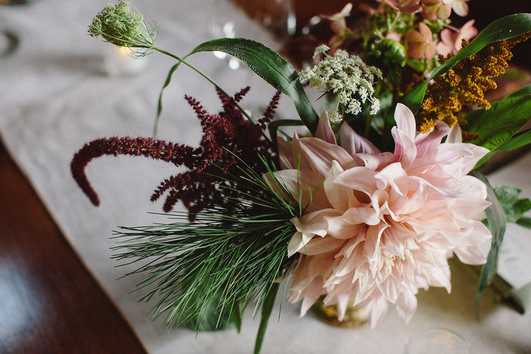 Fall wedding flowers by Nectar & Root | Wedding floral design services in Burlington, Vermont (VT) | Centerpiece with cafe au lait dahlia, queen anne's lace, amaranth, pine needles