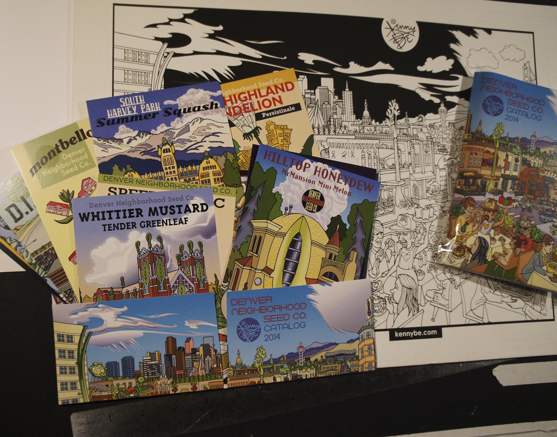 2014 Denver Neighborhood Seed Company postcards, silkscreen envelope and postcard portfolio.
