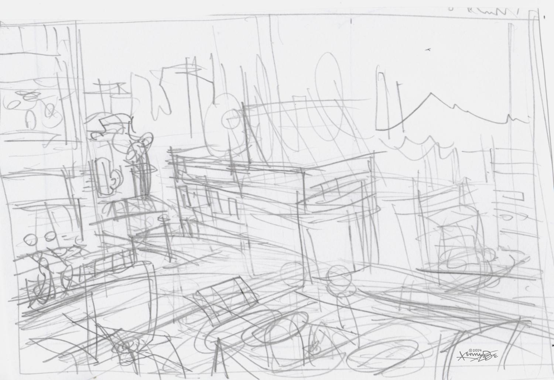 Original sketch to conceptualize a view of many Denver restaurants from the rooftop deck of a Denver restaurant.
