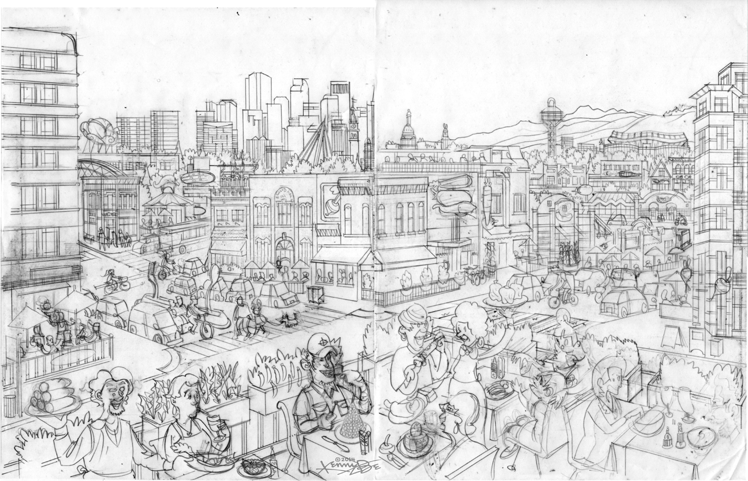 The center view of the drawing features Denver's iconic restaurants packed into a make believe street scape.