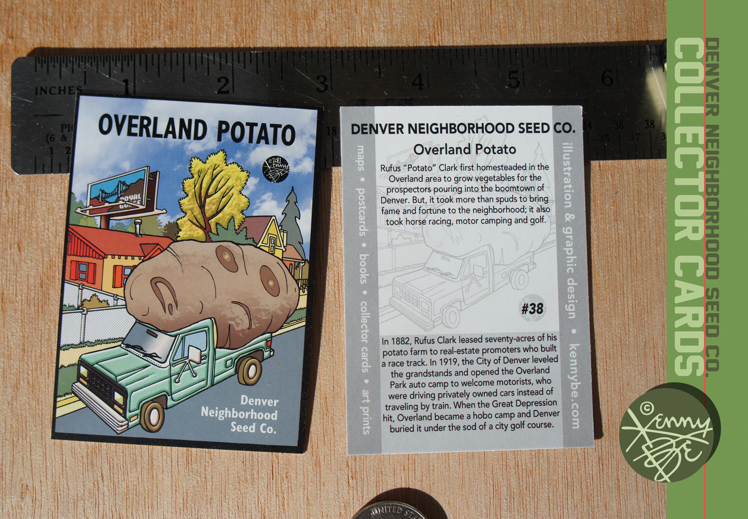 The Overland Potato story is told on the flip side of the Denver Neighborhood Seed Co. Collector Card #38.