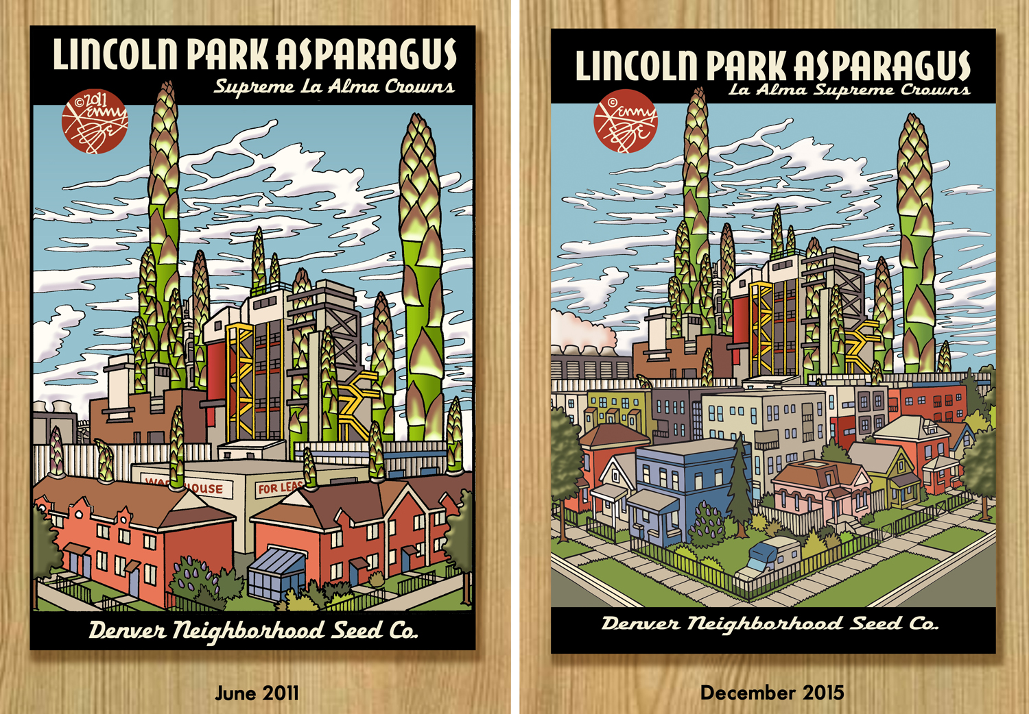 The Lincoln Park Asparagus (La Alma Supreme Crowns) artwork was redrawn to reflect the redevelopment of the neighborhood.