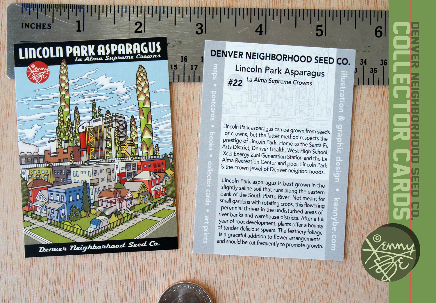 Lincoln Park Asparagus La Alma Supreme Crowns Collector Card #22, front and back.