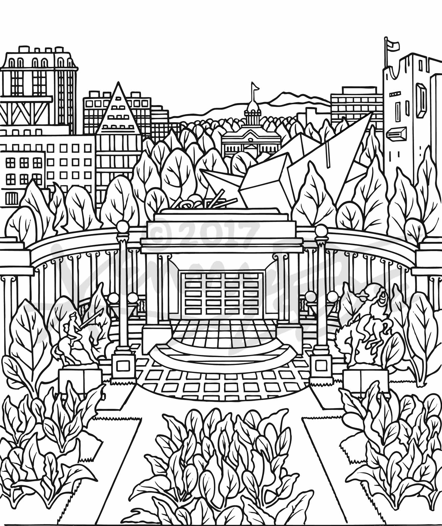3. Civic Center Golden Triangle Spinach Denver Neighborhood Seed Company Kenny Be Art & Design kennybe.com BW Line Art.jpg