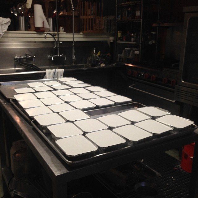 Chicken pot pies on a large scale.