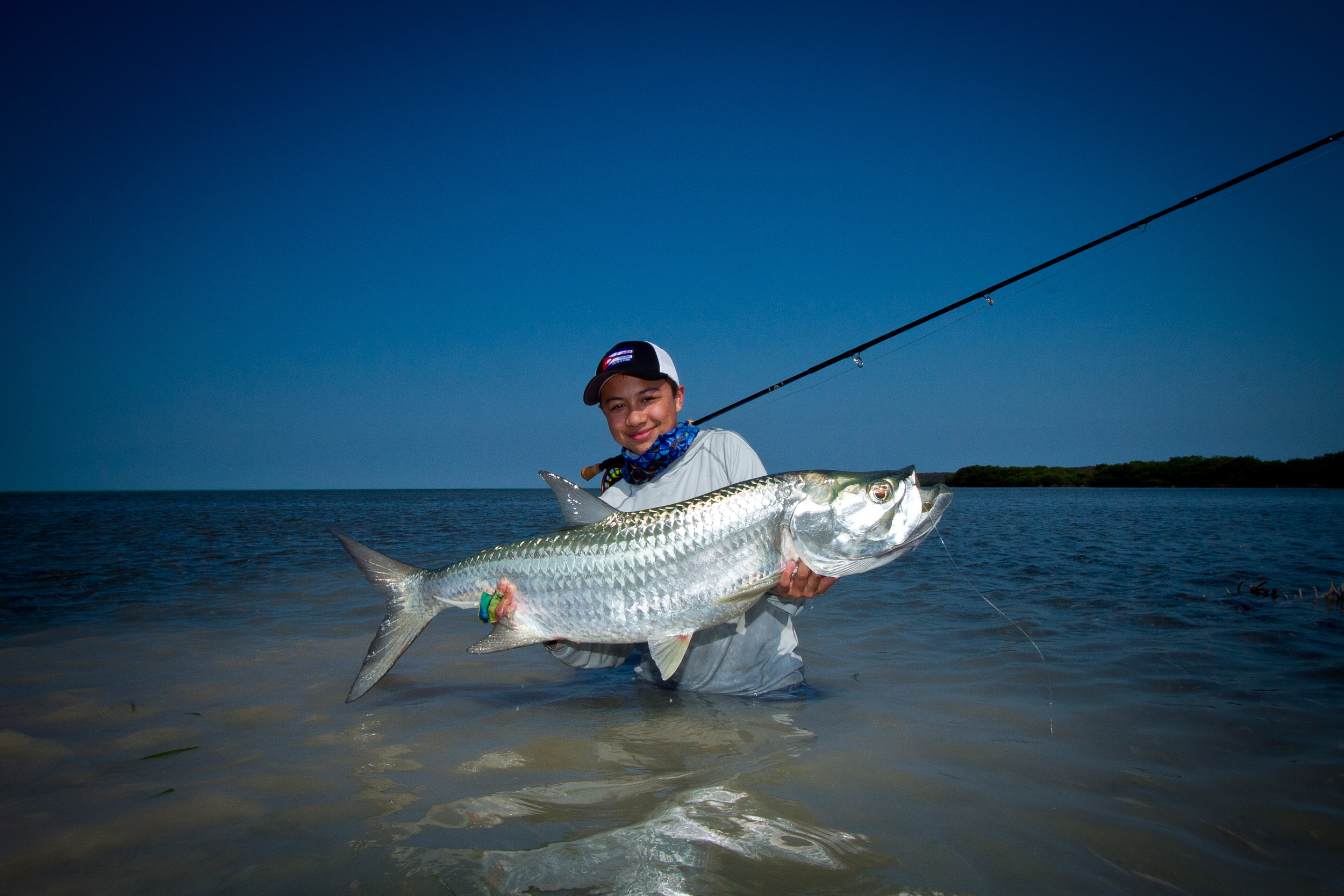 Teddy and his first ever landed Tarpon, Cayo Cruz, Cuba