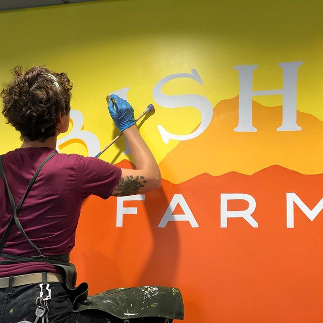 This is one of four murals I painted for Bishop Farms cafe. Couldn't have done it without the help of @ashleyfun and @spooky_orbison! #dreamteam #ladieswhopaint #signpainting 📸@ashleyfun