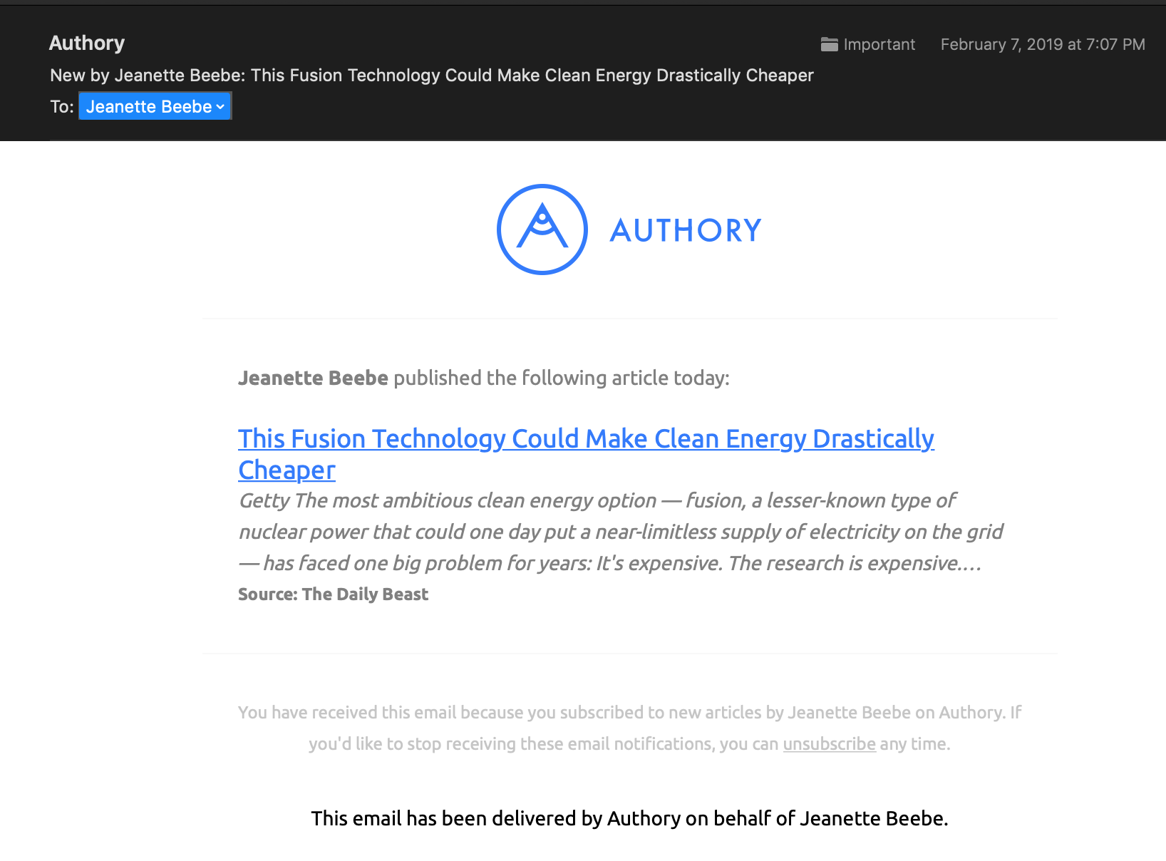 Authory Example Update Jeanette Beebe