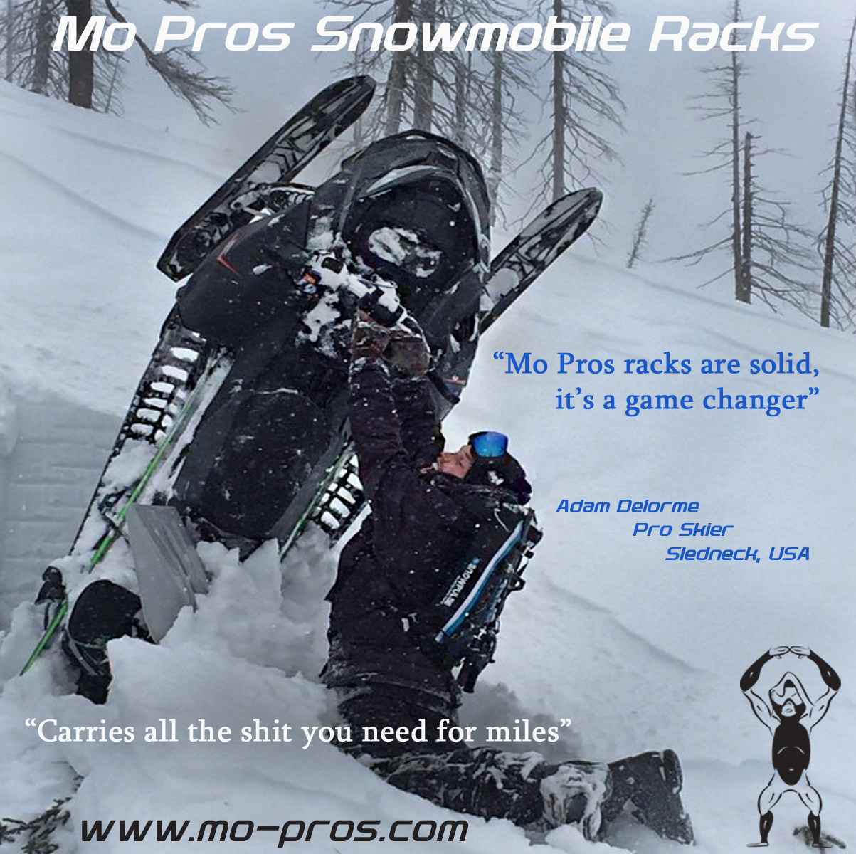The Mo Pros Snowmobile Rack is competitive because it changes into a snowmobile ski rack and snowmobile snowboard rack.Polaris snowmobile integration is simple, but Ski-Doo is also well accommodated as we live in a very backcountry united atmosphere,including cheetah factory racing.