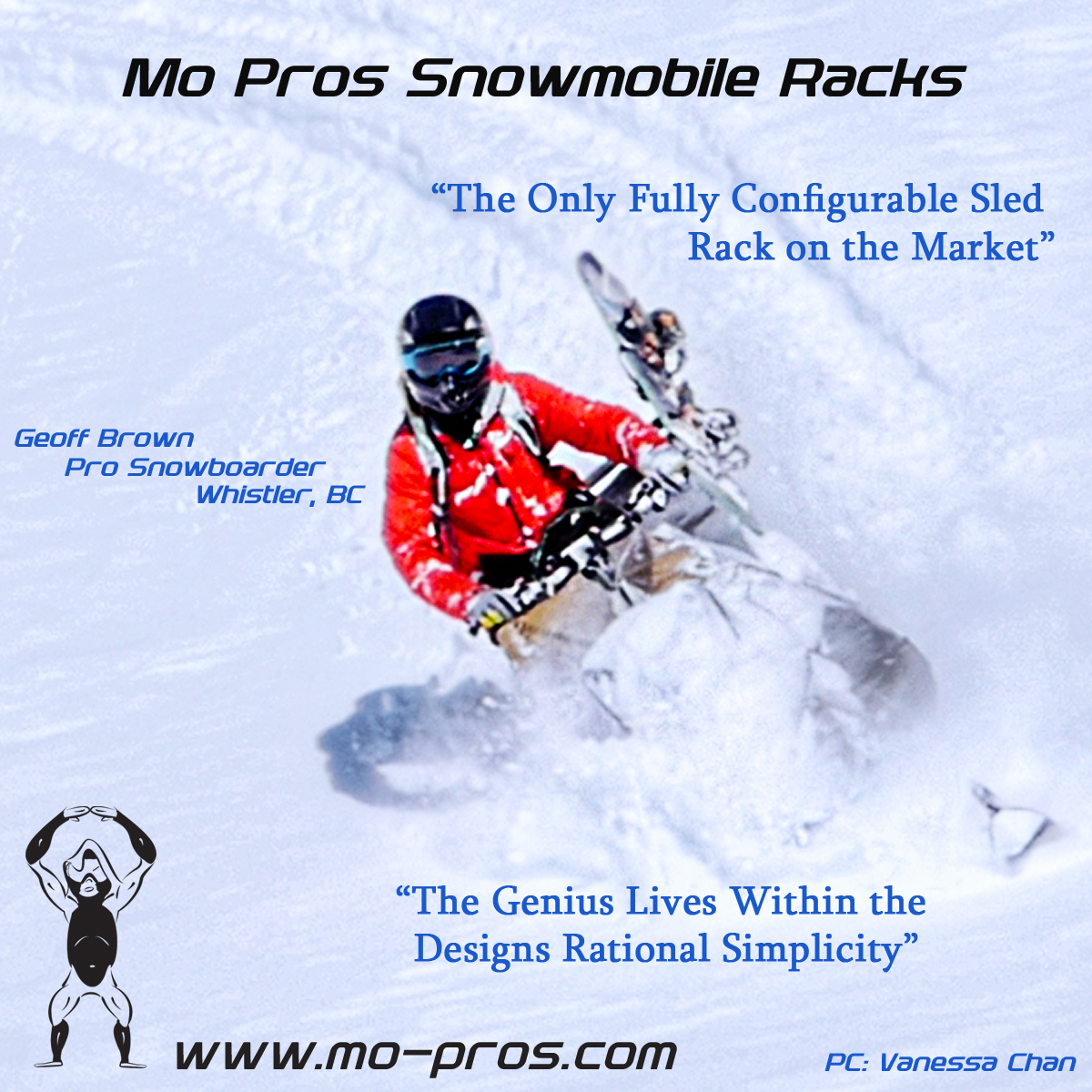 The only fully configurable snowmobile snowboard rack available on the market, the genius lives within the designs rational simplicity and cargo handling capability