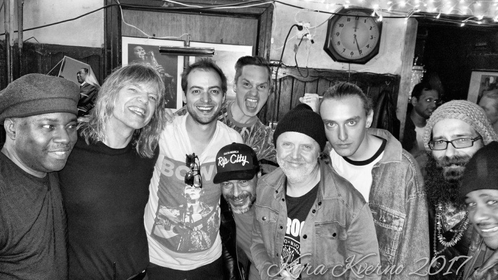 Hanging after a gig playing with Mike Stern, Lenny White and Teymur Phell (Lenny White, Mike Stern, Chris Ward, Mike Bendy, Robert Trujillo, Lars Ulrich, Myles Ulrich, John Bendy, Ronald Bruner Jr)