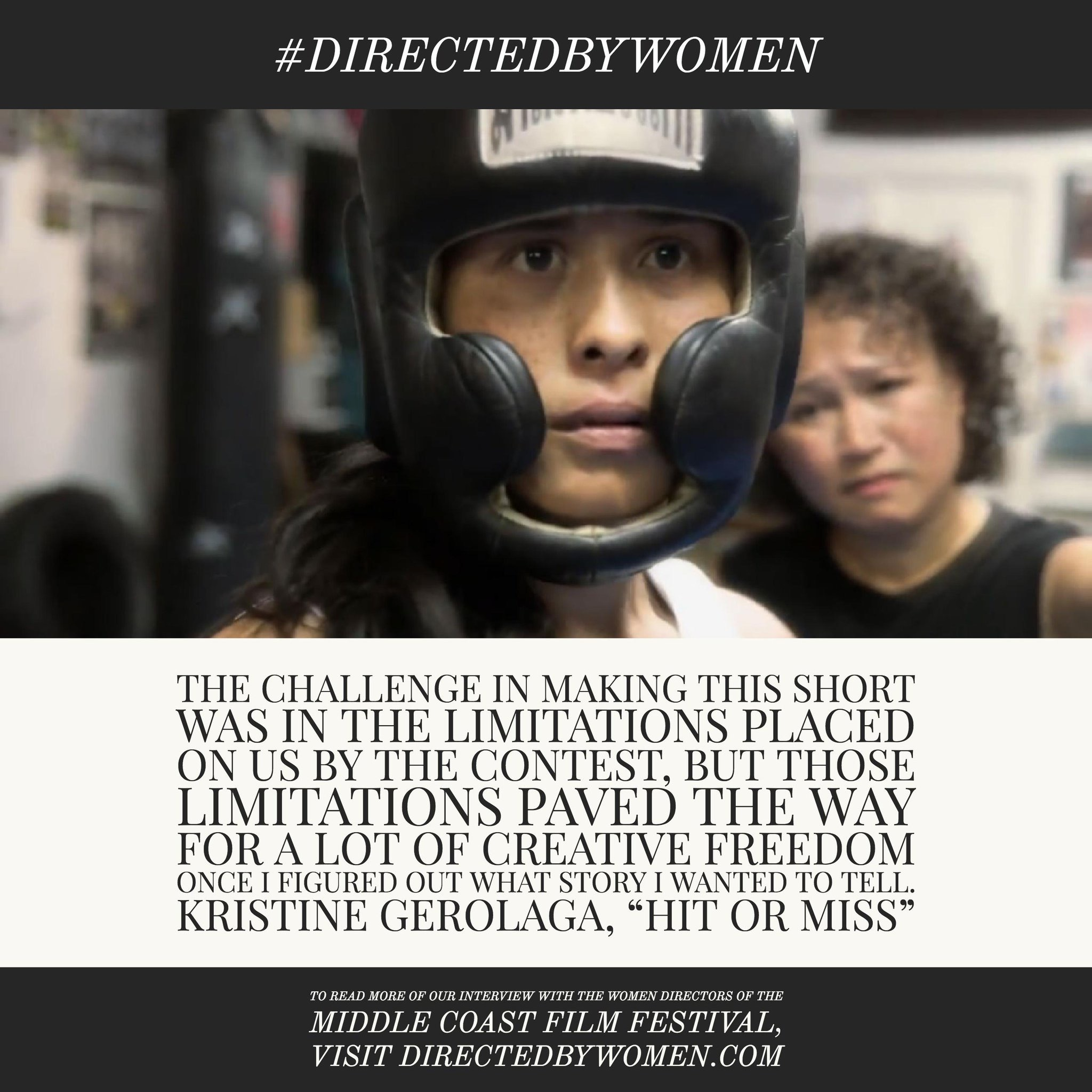 I get to talk about what I loved about making HIT OR MISS in this great article featuring 12 women whose work is showing at the 2017 Middle Coast Film Festival. Check it out on  DirectedByWomen.com !