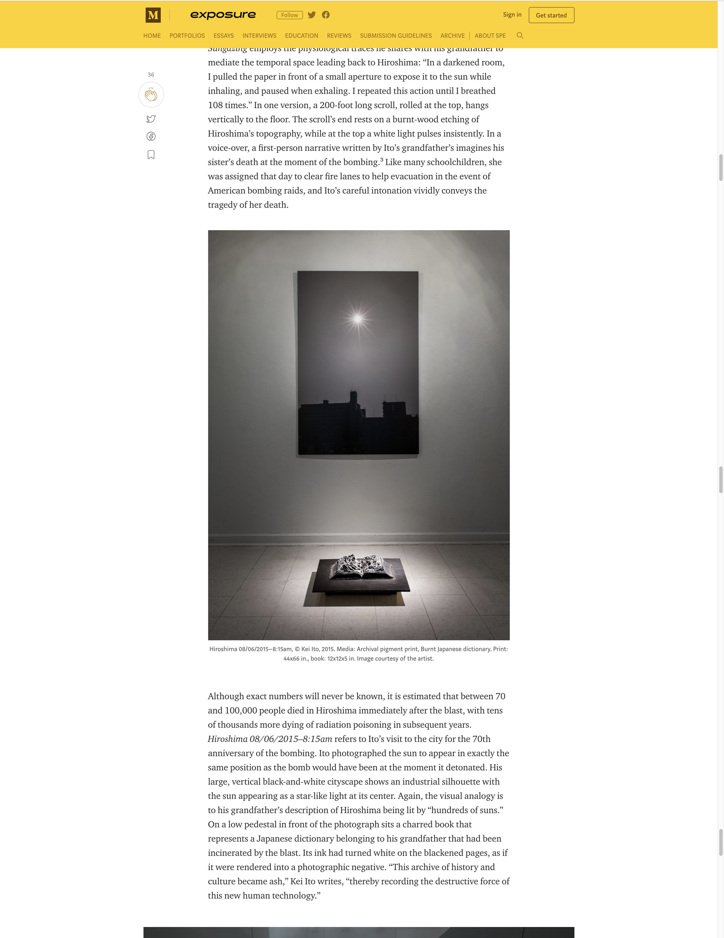 Article published on 09/12/2018   https://medium.com/exposure-magazine/art-of-atomic-legacy-the-work-of-kei-ito-b311735912e6
