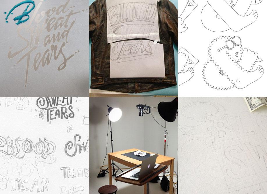 Artists' works in progress.