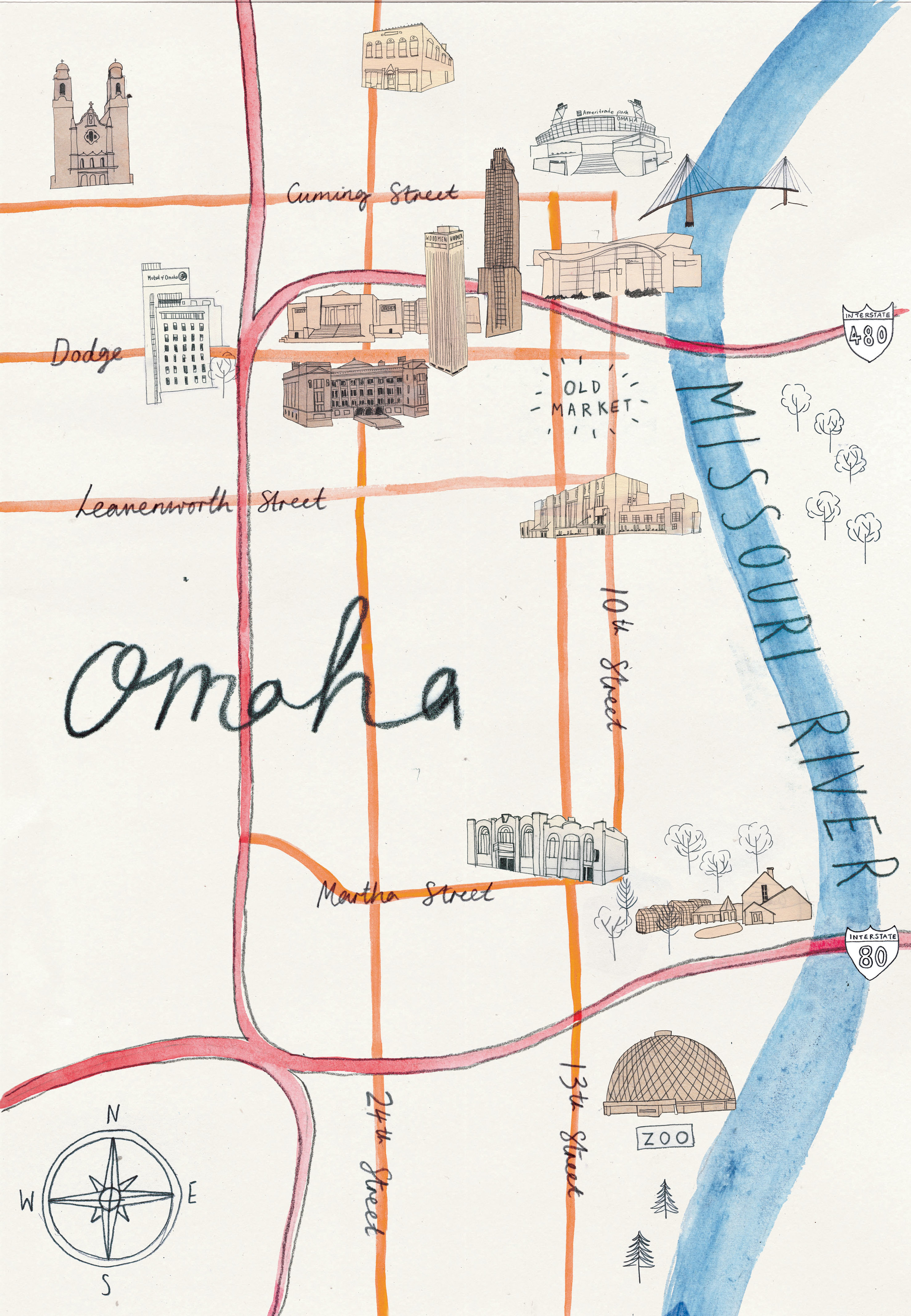 Omaha Landmarks - Hand drawn map of East Omaha. Available as a print in my  Etsy store .