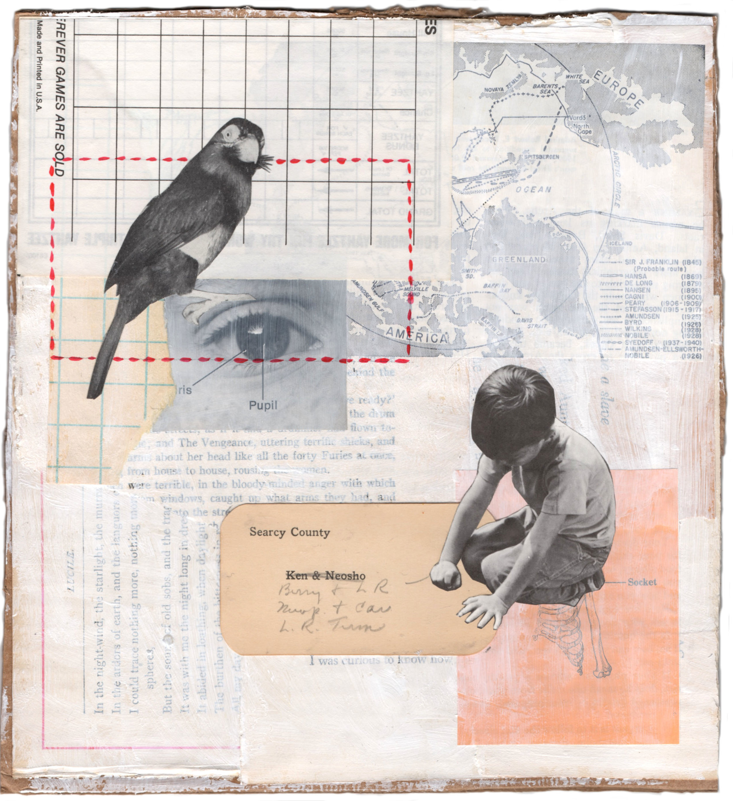"""Boy and Bird, 2016 (9 x 8 1/4"""")"""