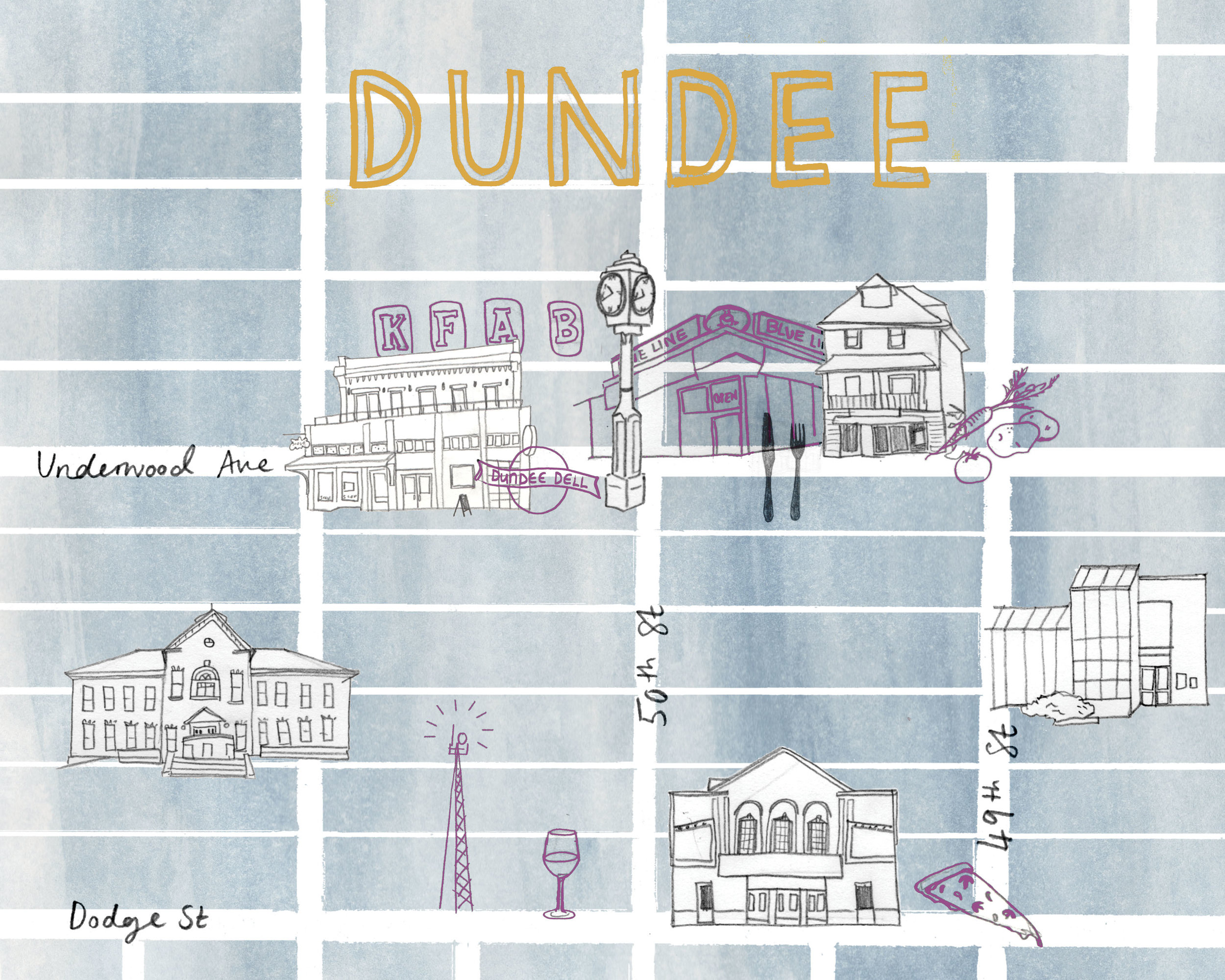 Maps of Omaha neighborhoods Dundee and Benson. Available in my  Etsy store .