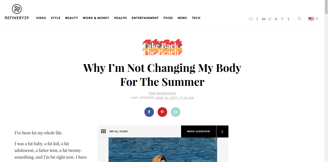 """Online Publication, """"Take Back The Beach: Why I'm Not Changing My Body For The Summer"""", Interview and Photo Feature - Cover Photo and Slides 7 & 8 , June"""