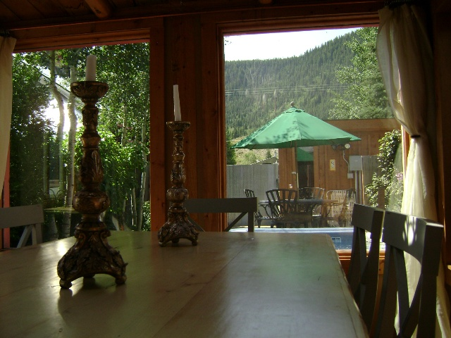 View from dining area to yard and sauna
