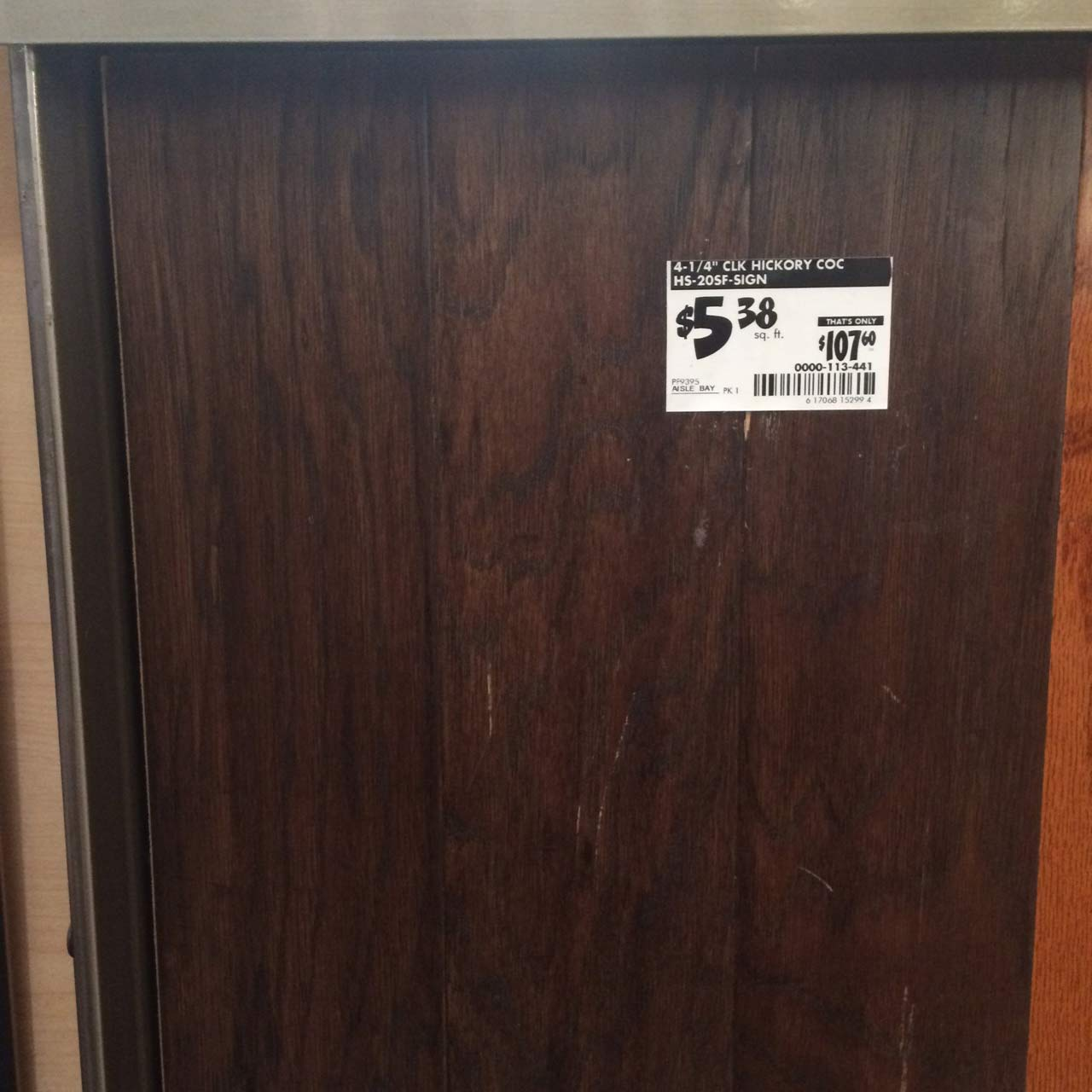 """4-1/4"""" Hickory - $5.38 / square foot or approx. $538 for a 10x10 room. Hickory is one of the hardest wood species available, making it a strong and durable finish option."""