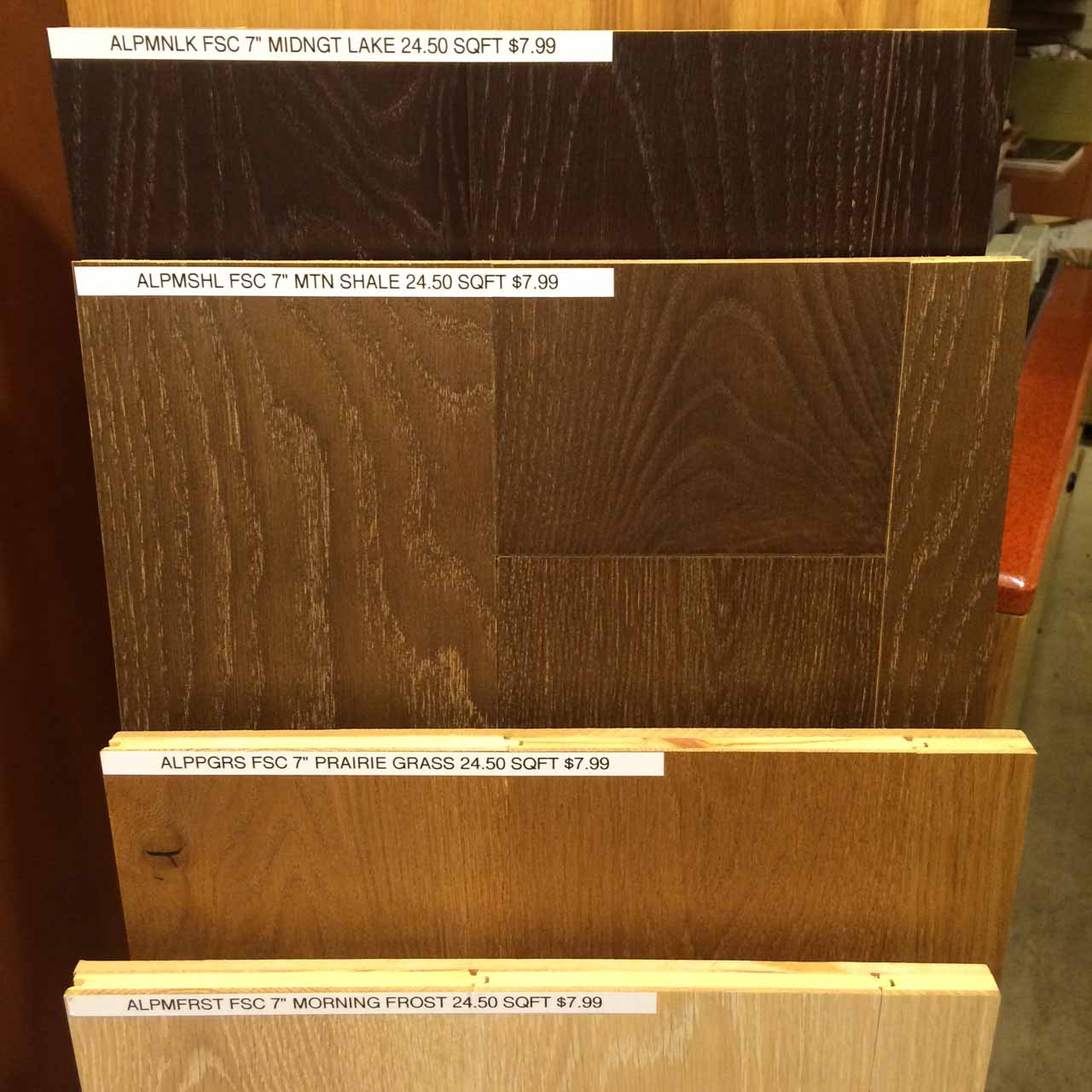 FSC-certified engineered hardwood flooring comes in a variety of colors at $7.99 / sf