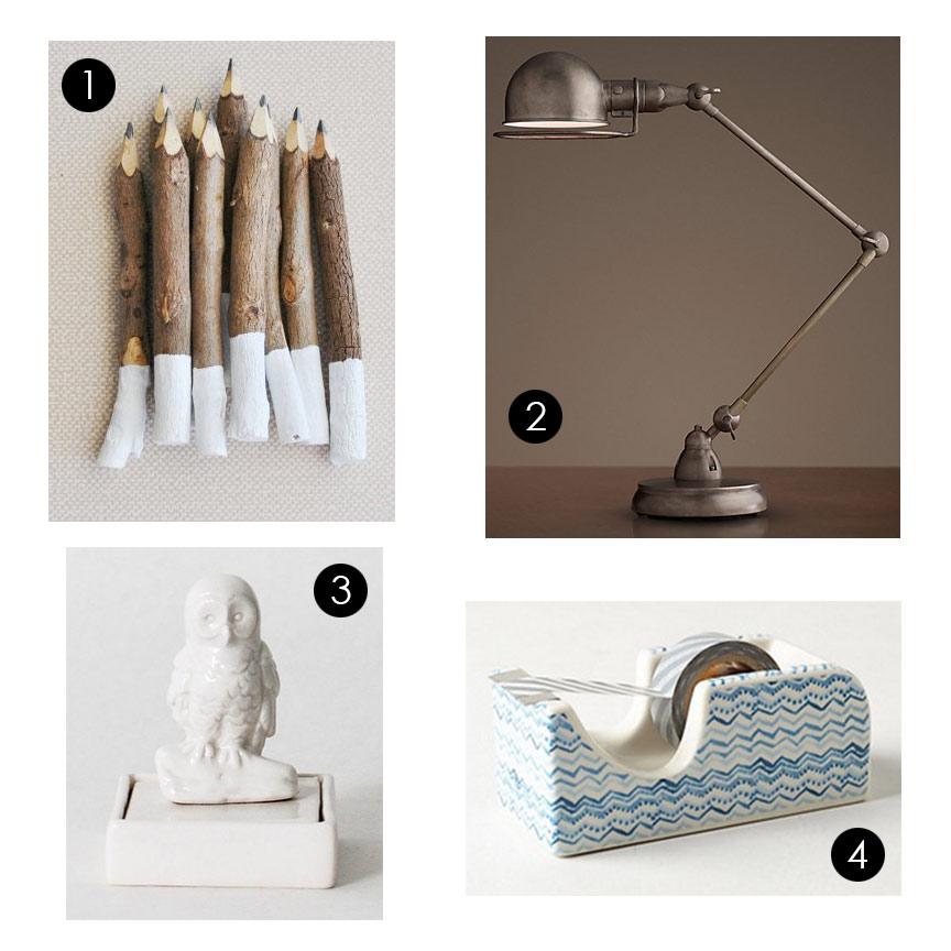 1.  Inkkit - White Dip Twig Pencils  2.  Restoration Hardware - Atelier Task Table Lamp  3.  Dot&Bo - Wisdom Owl Desk Stamp  4.  Anthropologie - Messina Desk Accessory