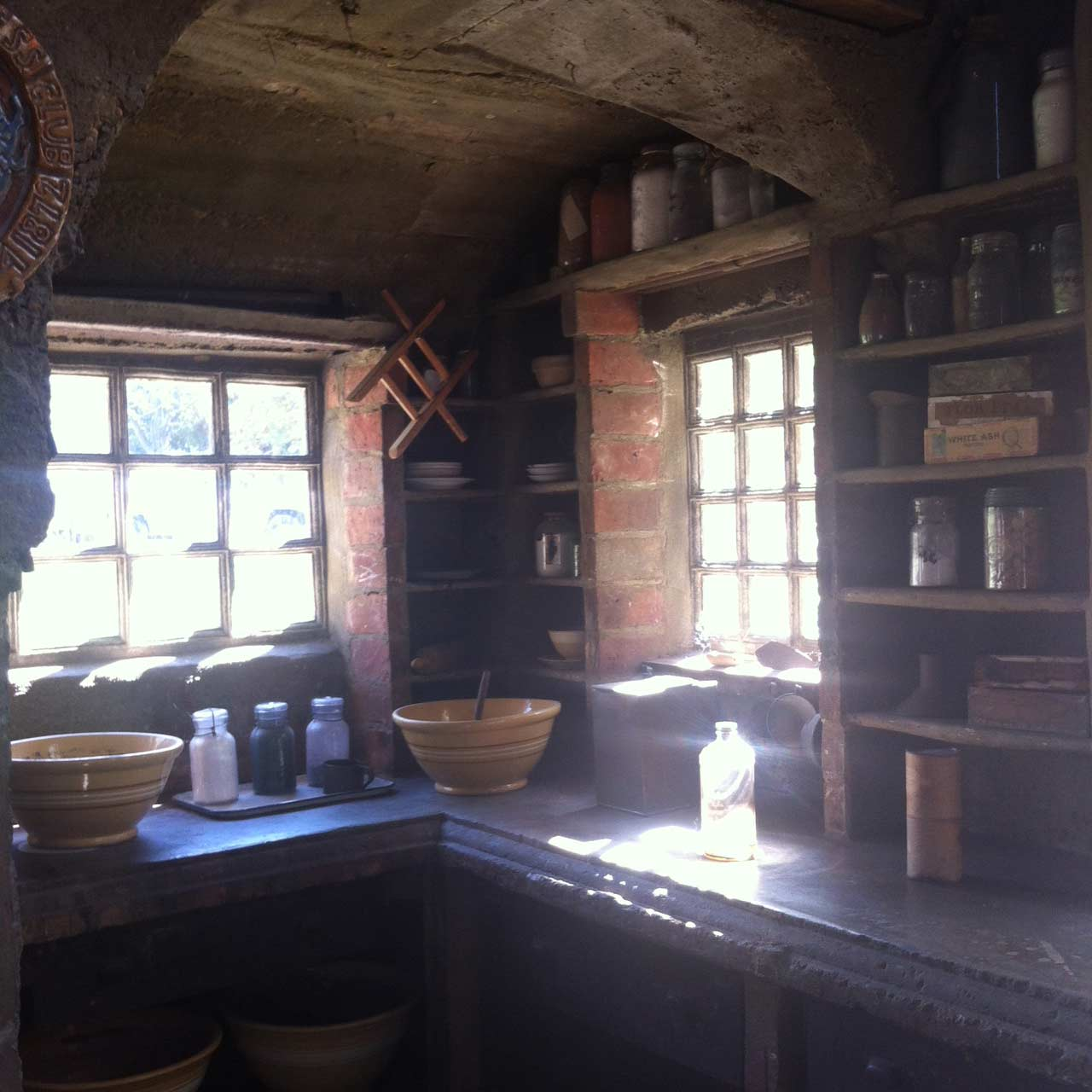 The sun-filled pottery studio.