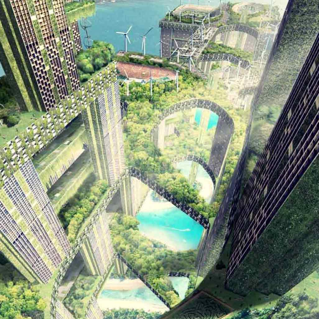 Rendering by  WOHA  for the Vertical Cities Asia International Design Competition.