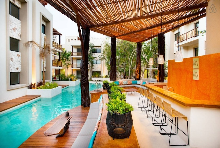 The pool area. Image via   Airbnb