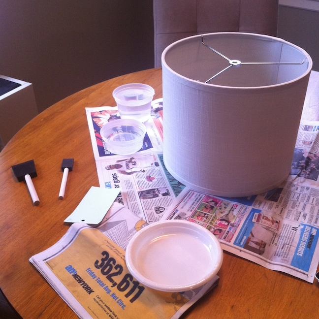 This was my crafting set up. I used some tupperware tubs of water to rinse the brushes while working.