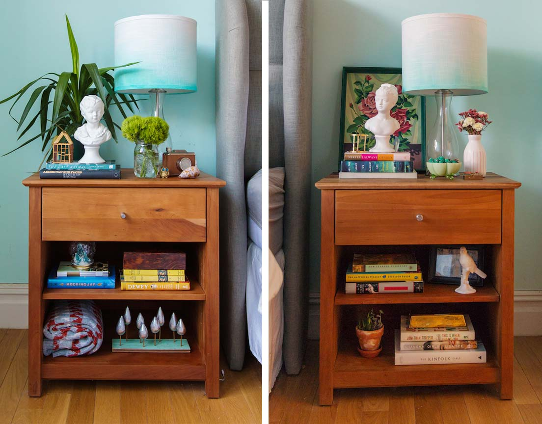 """His"" Nightstand (Left). ""Her"" Nightstand (Right).  Photography by   Lisa Weatherbee"