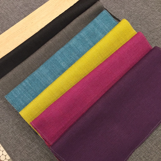 Fabric options for the sofas are a Turkish cotton-polyester blend. Grey is always a great choice, but I love the bright pops of color.